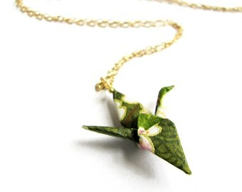 Origami Crane Necklace - Sage Green - Gold Filled chain