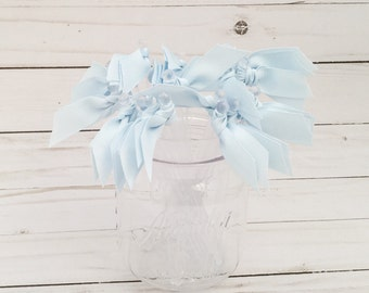 Baby Blue Grosgrain ribbon cocktail stirrers - 25 count - Clear drink stir sticks
