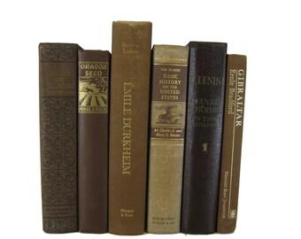 Brown Decorative Books, Vintage Wedding Decor , Vintage Book Decor , Home Decor , Photo Prop , Bookshelf Decor , Old Book Decor ,