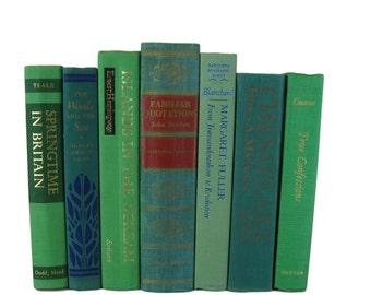 Green Blue Books , Vintage Books , Books , Decorative Books ,  Wedding Decor ,  Photo Prop , Instant Library , Greenery Green Wedding