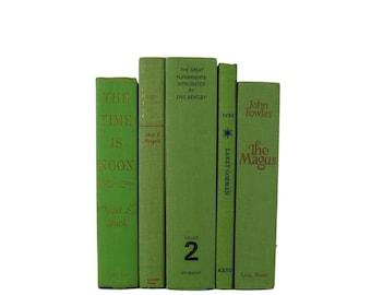 Green Bookshelf Decor, Decorative Books,  Green Vintage Books,  Home Decor , Old Books , Vintage Photo Props , Table Setting , Wedding Decor