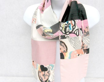Pink Black White Scarf, Patchwork Scarf, Ethnic Scarf, One Wrap Scarf, Upcycled, Pieced Scarf, Repurposed, Multi Colored Scarf, OOAK Scarf