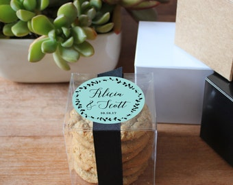 12 - Wedding Favor Boxes - ANY COLORS - Laurel Label Design | Laurel Bridal Shower Favors | Personalized Favor Box | Any Occasion