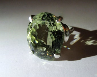 Extra Large Prasiolite Green Quartz In Sterling Silver Cocktail Ring 19.46ct. Size 6.75