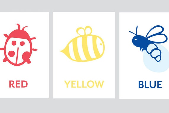 Primary Colors, Cute,  Bee, Ladybug, Firefly Children's Decor, Children's art