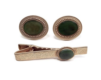 Faux Jade Green Vintage Mens Jewelry Set Brushed Gold Tone Cufflinks Tie Clip Hipster Formal Accessories Best Man Groom Gift