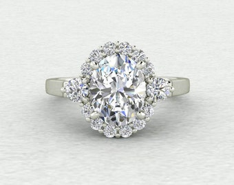 Forever One 9x7mm Oval Cut and Diamond Starbust Cluster Engagement Ring LCDH044