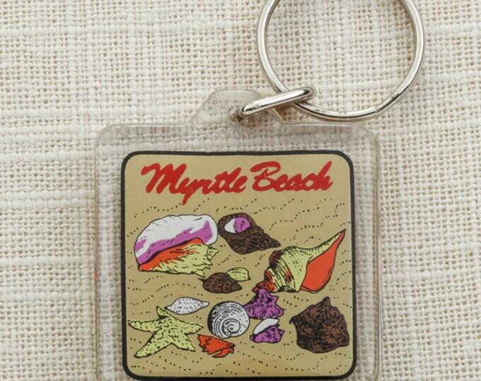 Myrtle Beach Vintage Keychain South Carolina Sea Shells Seashells Starfish Beach Sand Key FOB Key Chain 16U