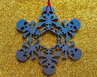 Skull Snowflake Laser Cut Gothic Christmas Tree Acrylic Decoration