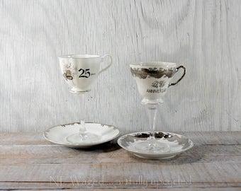 Vintage tea cup wine glass, 25th wedding anniversary, teacup wine glass, anniversary gift, set of 2 mismatched