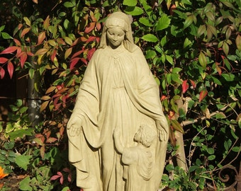 MADONNA & CHILD STATUE Solid Stone Virgin Mary Garden Sculpture (o)
