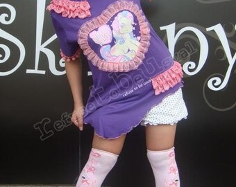 MY LITTLE Pony Dolly Princess Heart Lace Cream POM Top
