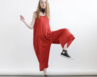 Loose summer jumpsuit, Red overall, loose fit one size romper