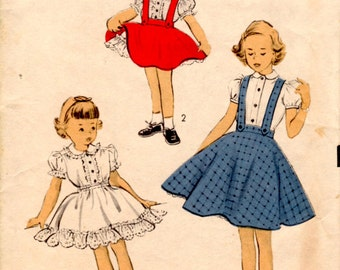 1953 Size 2 Advance 6343 Girls Dress Blouse Skirt Petticoat Sewing Pattern Supply Rockabilly 50s Unprinted Pattern Suspenders c