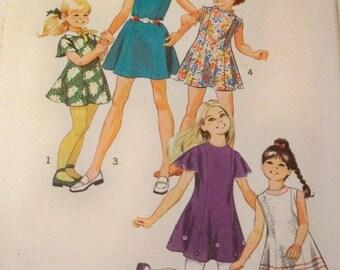 1971 Size 6 Simplicity 9841 Girls Princess Dress Sewing Pattern Retro 70s Dress Supply Vintage Pattern High Round Neckline Pter Pan Collar c