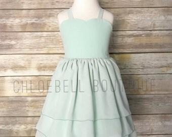 Mint Chiffon Flower Girl Dress - Mint -Pastel Toddler Flower Girl Dress - Chiffon Flower Girl - Chiffon Girls Dress - Modern Toddler Dress