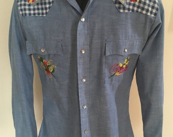 """Embroidered Sears """"Tulsa"""" Western Shirt - Size Medium (Fitted)"""