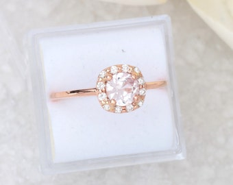 Pink Champagne Sapphire Engagement Ring Cushion Shape 14k Rose Gold Diamond Halo
