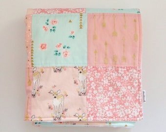 Baby Quilt, Baby Blanket, Baby Girl, Floral, Fawn, Arrow, Gold, Metallic, Woodland, Pink, Peach