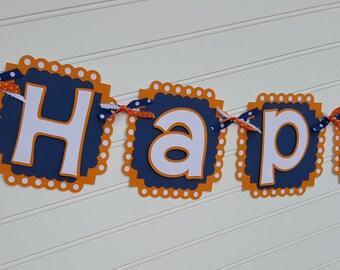Fox Happy Birthday banner, Fox Name banner, Fox Baby Shower Banner, Fox Highchair banner.  ONE banner.  Woodland Creature banner. Photo Prop