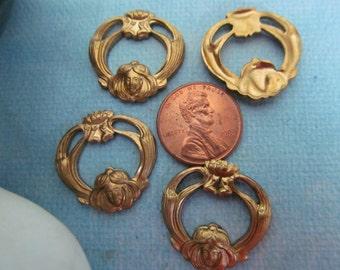 6 Vintage Brass Lady  Stampings