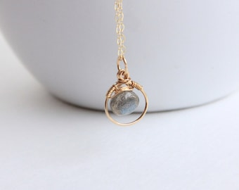 Labradorite Briolette Necklace, 14K Gold Filled Chain, Wire Wrapped Stone pendant Jewelry