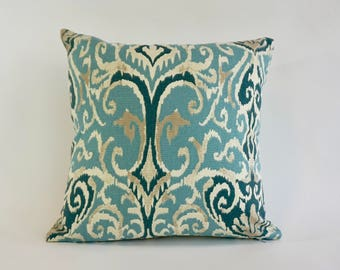 Decorative Throw Pillow Ikat Print on Medium Weight Cotton SET OF TWO