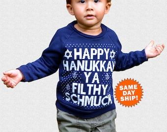 Happy Hanukkah Ya Filthy Schmuck Unisex Childrens Toddler Happy Hanukkah Crewneck Sweatshirt Chanukah Sweater Judaica Family Picture Set