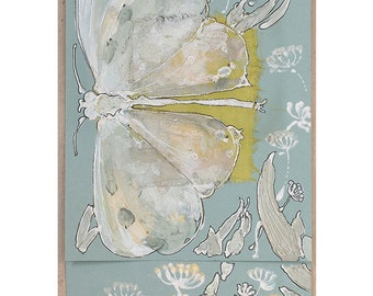 Pearly white butterfly and wild flowers - handpainted blank greeting card, art card, mint lime green golden black herbs grass insect - OOAK