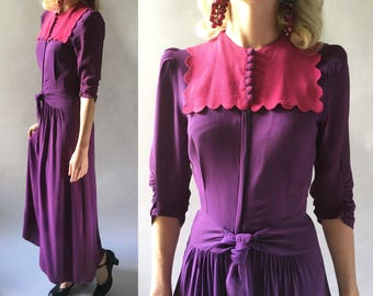 RESERVED // Marvelous 1930s Vintage Purple & Hot Pink Crepe Rayon Gown Long Sleeves, Scalloped Bib and Zip Front