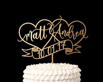 Custom Wedding Cake Topper - Heart Cake Topper w First Names - Whimsical Collection