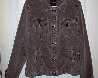 Vintage Ladies Gray Corduroy Jacket by Gloria Vanderbilt Medium Only 9 USD