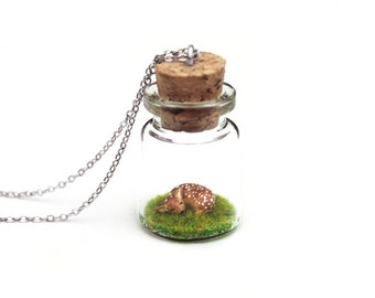 Spring Fawn Bottle Necklace, Animal Gift - miniature deer fawn in a tiny terrarium necklace, 3cm tall bottle, 16 inch chain
