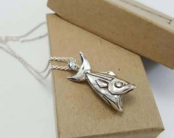 Fish Necklace in Sterling Silver, Silver Fish Pendant, Silver Large Mouth Bass, Unique Fish Necklace, Large Fish Pendant, Geometric FIsh