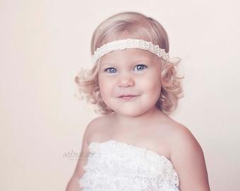 Flower Girl Headband, Flower Girl Bow, Baby Girl Headband, Newborn Headband, Baby Keepsake Headband, Baby Bows, Baptism Lace Headband