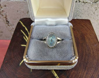 Southwestern Ring Vintage Abalone Ring Signed Sterling Silver Indian Paua Ring