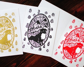 Eight Hand Printed Dog Thank You Cards - Set of Linocut Prints