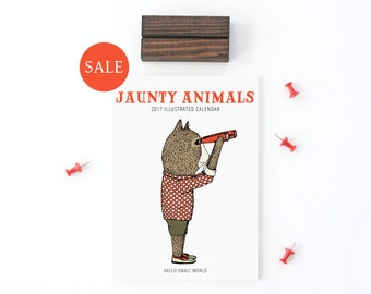 SALE 2017 Calendar - Jaunty Animals by Hello Small World, Desk Calendar, Monthly Calendar, 12 Months, Fox Bear Bicycle Raccoon Moose