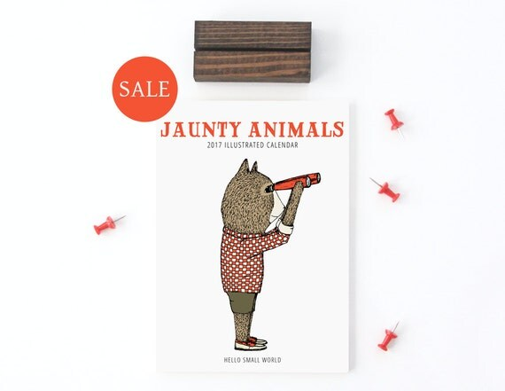 2017 Calendar - Jaunty Animals by Hello Small World, Desk Calendar, Monthly Calendar, 12 Months, Fox Bear Bicycle Raccoon Moose