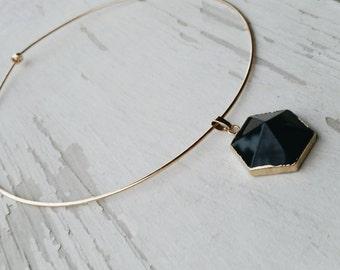 starlit - golden stone collar necklace