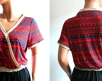 Bohemian Wrap Top Red Blue Geometric Short Sleeves Blouse Women's Clothing Size Small Medium S/M