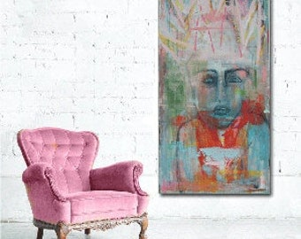 Painting of woman with crown on her head expressionism, large painting, figurative art, loft decor, by Cheryl Wasilow