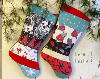 Pet Stocking Set of 2 - Dog, Cat - Christmas, Personalized, Turquoise, Red, White, Modern, Quilted, Holiday Decor, Dog Bones, Cat Toys