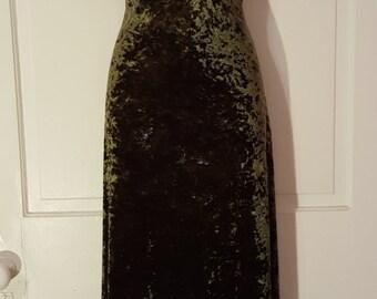 CRUSHED VELVET MAXI // La Belle 90's Green Velvet Goth Maxi Dress Mock Turtleneck Deadstock New Old Stock Size M Spandex Stretch On Trend