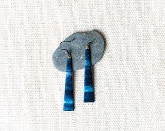 Blue Ombre Earrings, Fiber Jewelry