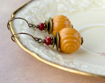 Mustard Yellow Earrings, Chunky Large Round Earrings, Mustard Earrings, Vintage Bead Jewelry, Funky Statement Earrings, Retro Gifts for Her