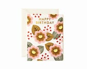 Retro Flower Birthday Card