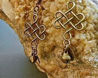Celtic Knot Earrings Brass Antique Bells Round Charm TinyTear Drop Charm Boho Gypsy Valentine Gift trending colors