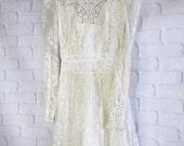 vintage 1980s off white alencon lace boho wedding dress