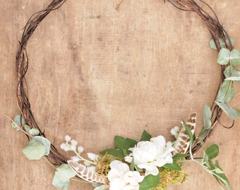 Bridesmaids Flower Hoop Bouquet Alternative Floral Wreath Wedding Decor